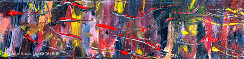 Fotografija Art abstract panorama, & fun, creative, spontanous background, with random splashes and swirls in multicolor paint - concept for design - in long header / banner