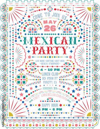 Mexican party announce poster template. Billede på lærred