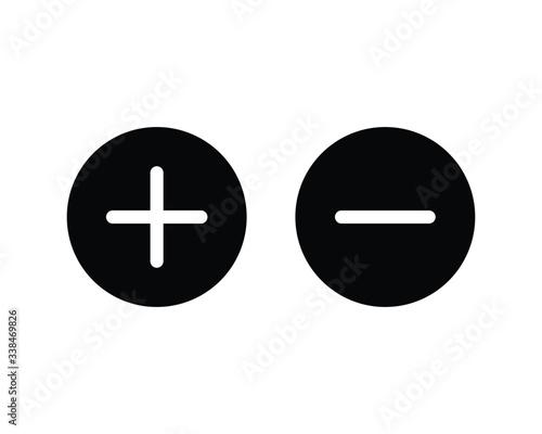 Cuadros en Lienzo Plus and minus icon, Plus and minus sign and symbol vector design