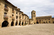 Plaza Mayor, in Ainsa, Huesca, Spain in Pyrenees Mountains, an old walled town with hilltop views of Cinca and Ara Rivers