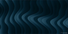 Abstract Curved Lines Wave Pattern Overlay In Dark Teal Blue Green Colors For Vector Background, Banner.