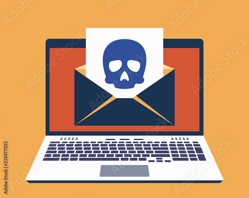 Laptop, E-Mail on Its Screen and Paper Leaf With Icon of Skull on It Canvas Print