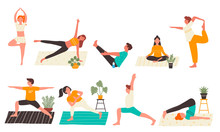 Young People In Yoga Poses Set...