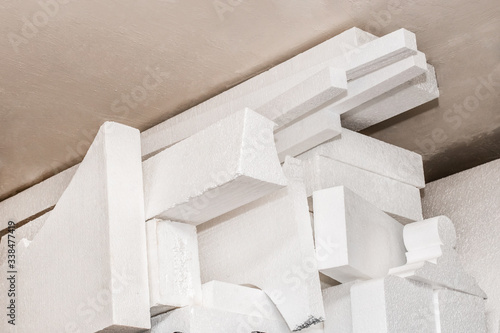 A pile of white polystyrene foam material