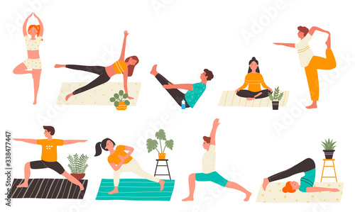 Young people in yoga poses set flat vector illustration isolated on white background Canvas