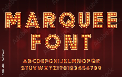 Fotografie, Obraz Retro Cinema or Theater Shows Marquee Font for Dark Background