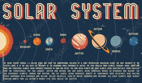 Obraz na plátně Solar system colorful vintage template