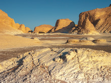 The White Desert In Western Egypt Is An Breathtaking Place. Great Limestone Sculptures And The White Gound Open Gigantic Views On That Former Ocean Bed.