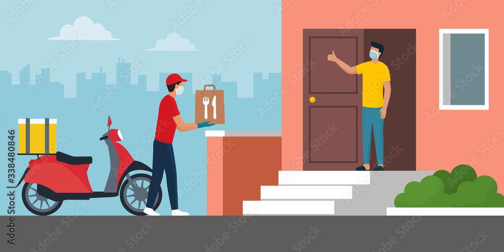 Fototapeta Safe food delivery at home during coronavirus covid-19 epidemic