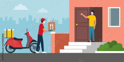 Obraz na płótnie Safe food delivery at home during coronavirus covid-19 epidemic