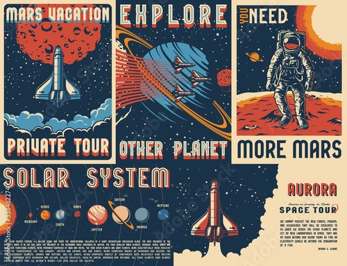 Obraz Vintage space posters set - fototapety do salonu