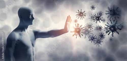 Man stopping coronavirus. Immune system defend from corona virus COVID-19. #338483667