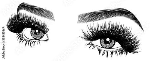 Fotografía Illustration with woman's eyes, eyelashes and eyebrows