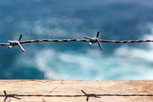 Barbed Wire Closeup. Blue Sea ...