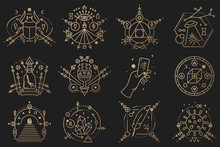 Esoteric Symbols. Vector Thin ...