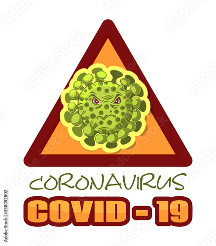 Cartoon image of coronavirus in warning triangle Wallpaper Mural
