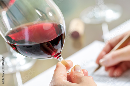 Fototapeta Red wine glass with hand taking notes.