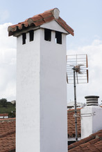 White Painted Village Chimneys...