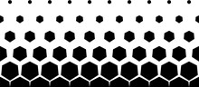 Seamless Halftone Vector Background.6 Figures In Height.Short Fade Out.Black Hexagones.