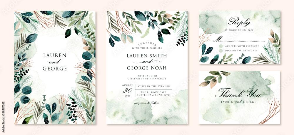 Fototapeta wedding invitation set with green foliage branches watercolor