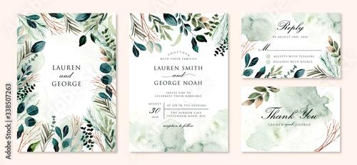 Fotografie, Obraz wedding invitation set with green foliage branches watercolor