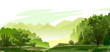 Forest, mountains in the distance. Vector. Green beautiful landscape. Mature trees, oysters and grass. On the horizon foggy mountains. Mysterious bright distance, yellow hills. Background.