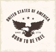Color Illustration Of An Eagle And Text On A Background With A Grunge Texture. Vector Illustration On The Theme Of Freedom And Democracy In The USA In Vintage Style. Independence Day USA.