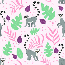 Seamless Pattern With Flat And...