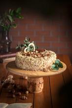 Napoleon Cake On A Wooden Cake...
