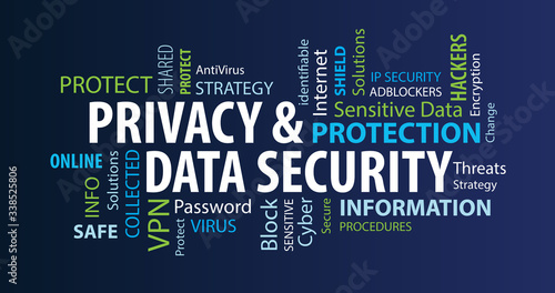 Fotografía Privacy and Data Security Word Cloud on a Blue Background