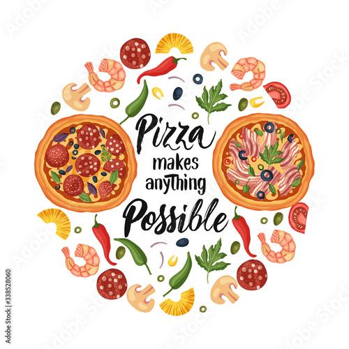 Valokuvatapetti Hand drawn lettering food tasty pizza poster illustration
