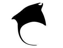 Black Silhouette Manta Ray Und...