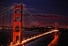 Blurred Motion Of Car Lights On Golden Gate Bridge