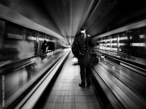 Obraz Rear View Of People On Escalator - fototapety do salonu