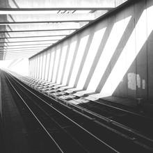 Sunlight Falling On Railway Tracks