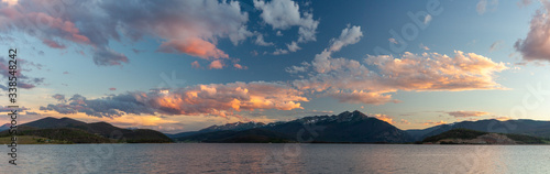 A panorama of sunset over the Rocky Mountains and Dillon Reservoir (Lake Dillon) Wallpaper Mural