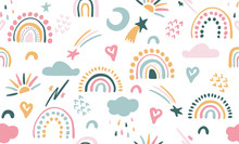 Seamless Vector Pattern With Hand Drawn Rainbows And Sun. Trendy Baby Texture