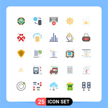 25 User Interface Flat Color Pack Of Modern Signs And Symbols Of Spring, Brightness, Web, Sun, Setting