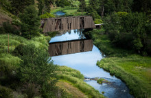 An Old Wooden Covered Bridge R...