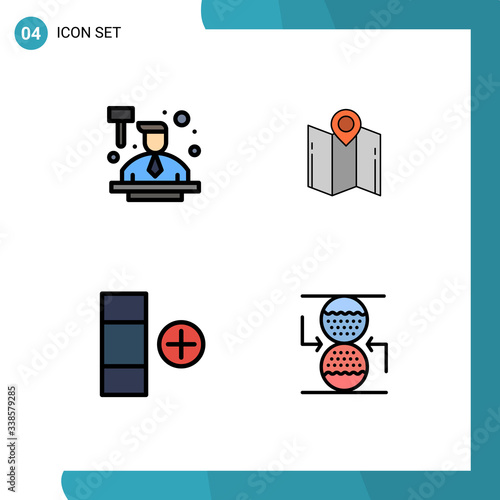 Photo Universal Icon Symbols Group of 4 Modern Filledline Flat Colors of auction, cell