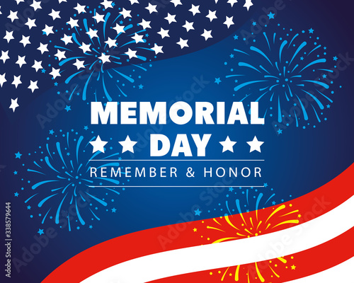 happy memorial day with decoration of flag usa vector illustration design Fotomurales
