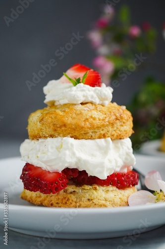 Fotografia, Obraz Homemade Strawberry shortcake with stuffed cream topping, selective focus