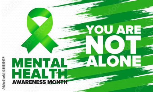 Obraz Mental Health Awareness Month in May. Annual campaign in United States. Raising awareness of mental health. Control and protection. Prevention campaign. Medical health care design. Vector illustration - fototapety do salonu