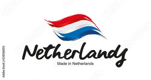 Made in Netherlands handwritten flag ribbon typography lettering logo label bann Canvas-taulu