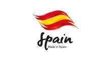 Made In Spain Handwritten Flag Ribbon Typography Lettering Logo Label Banner