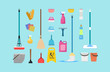 Cleaning and disinfection tools and products. Clean floor, vector sanitary and hygiene products, broom and mop, bucket and gloves household tool elements bottle and boxes pack. vector illustration