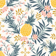 Tropical Vintage Seamless Pattern With Pineapple - Vector Luxury Background