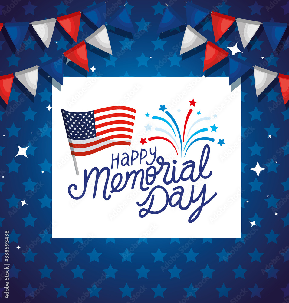 Fototapeta happy memorial day with flag usa and garlands hanging vector illustration design