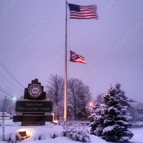 Flags On Flag Pole Canvas-taulu