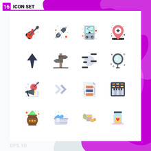 Universal Icon Symbols Group Of 16 Modern Flat Colors Of Love, Direction, Voltmeter, Up, Medical